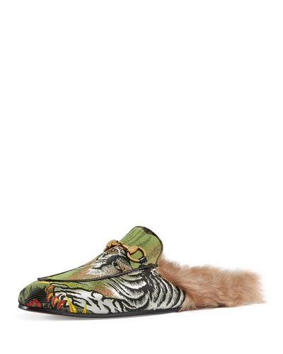 Princetown Tiger Jacquard Fur-Lined Slipper