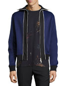 Blocked Knit Track Jacket, Blue