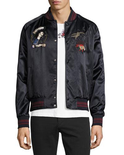 Embroidered Souvenir Bomber Jacket, Navy