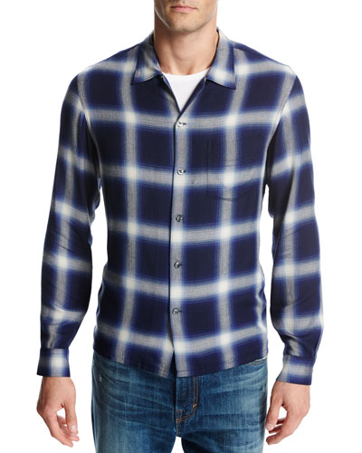 Ombré Plaid Open-Collar Shirt, Blue