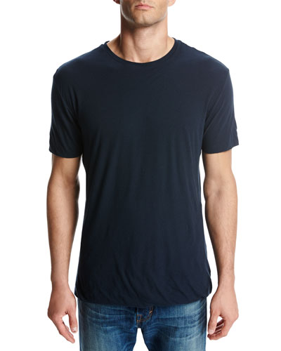 Seamless Double-Layer Crewneck T-Shirt, Blue