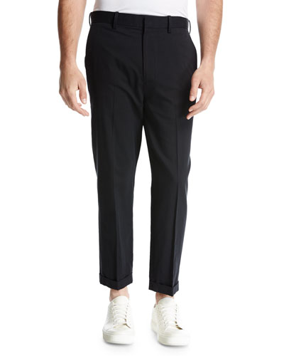 Cuffed Drop-Inseam Trousers, Black
