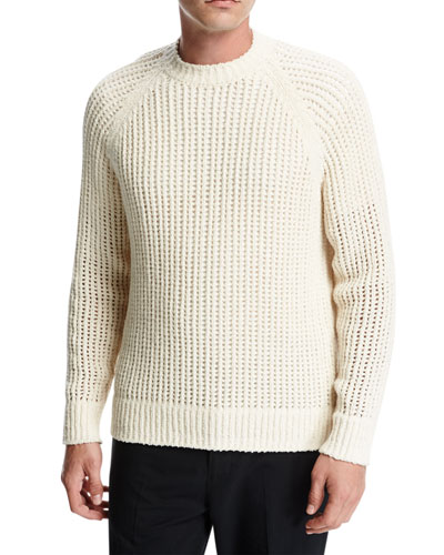 Open-Weave Crewneck Sweater, Off White