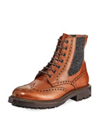 Brogue Leather Lace-Up Boot, Brown