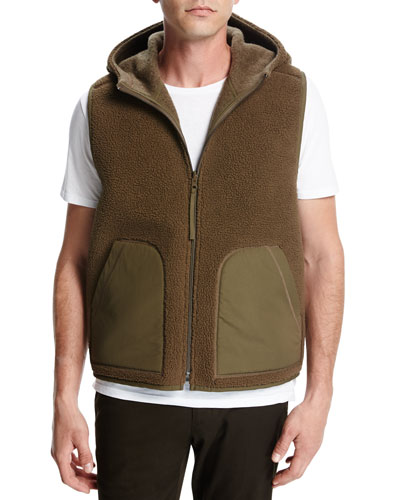 Reversible Sherpa Hooded Vest, Brown