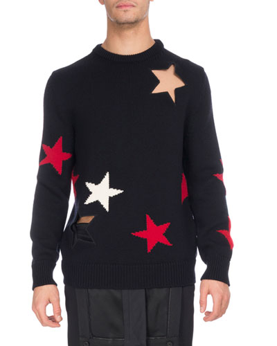 Star Cutout & Intarsia Wool Crewneck Sweater