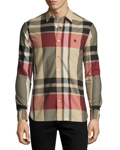 Coatson Check Cotton-Linen Shirt, Camel (Beige)