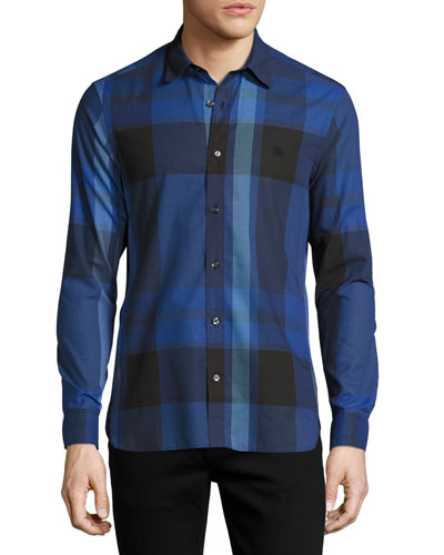 Coatson Check Cotton-Linen Shirt, Bright Navy