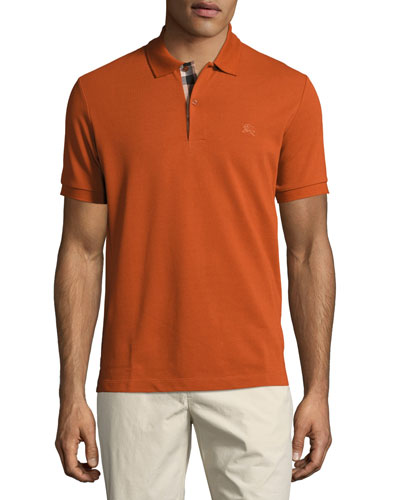 Short-Sleeve Oxford Polo Shirt, Dark Orange