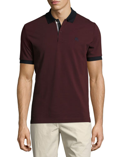 Haywood Check-Placket Cotton Pique Polo Shirt, Wine