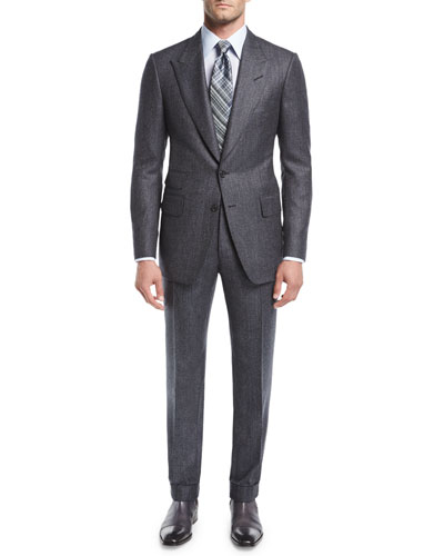 Shelton Base Salt & Pepper Wool-Silk Two-Piece Suit