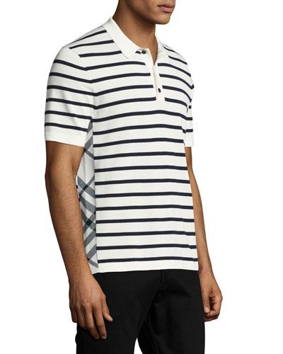 Talbot Breton-Stripe Cotton Polo Shirt, White