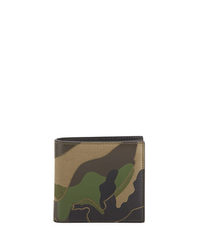 Valentino Wallets CAMO CANVAS & LEATHER WALLET