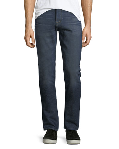 Straight-Leg Brushed Denim Jeans