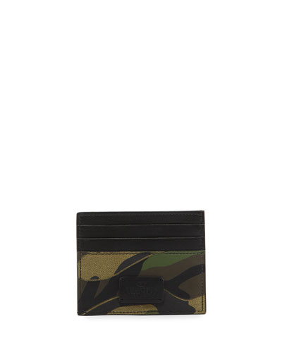 Camo Leather & Canvas Card Case