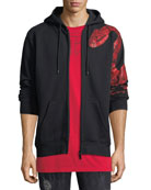 Zip-Front Graphic Hoodie w/ Snake Print