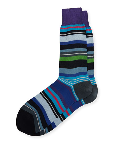 Cornelius Multi-Stripe Socks, Dark Purple