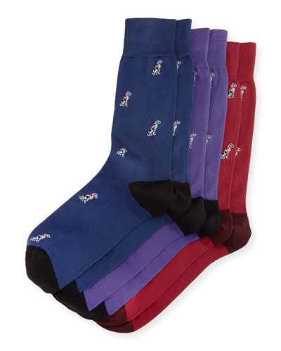 3-Pack Dog Socks, Multicolor