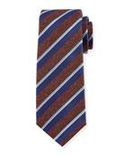 Melange-Stripe Silk Tie, Brown