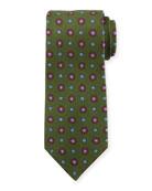 Circle Medallion Silk Tie, Green