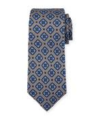 Diamond Medallion Silk Tie, Gray