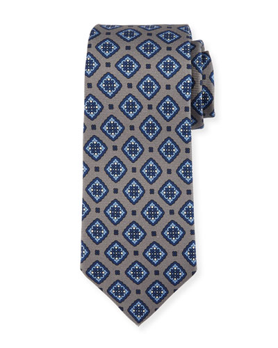 Diamond Medallion Silk Tie, Gray
