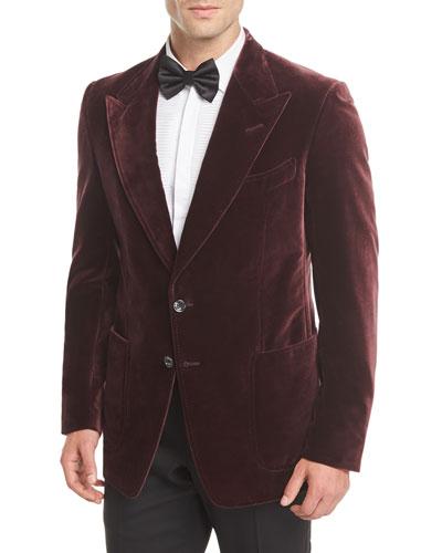 Shelton Velvet Patch-Pocket Tuxedo Jacket