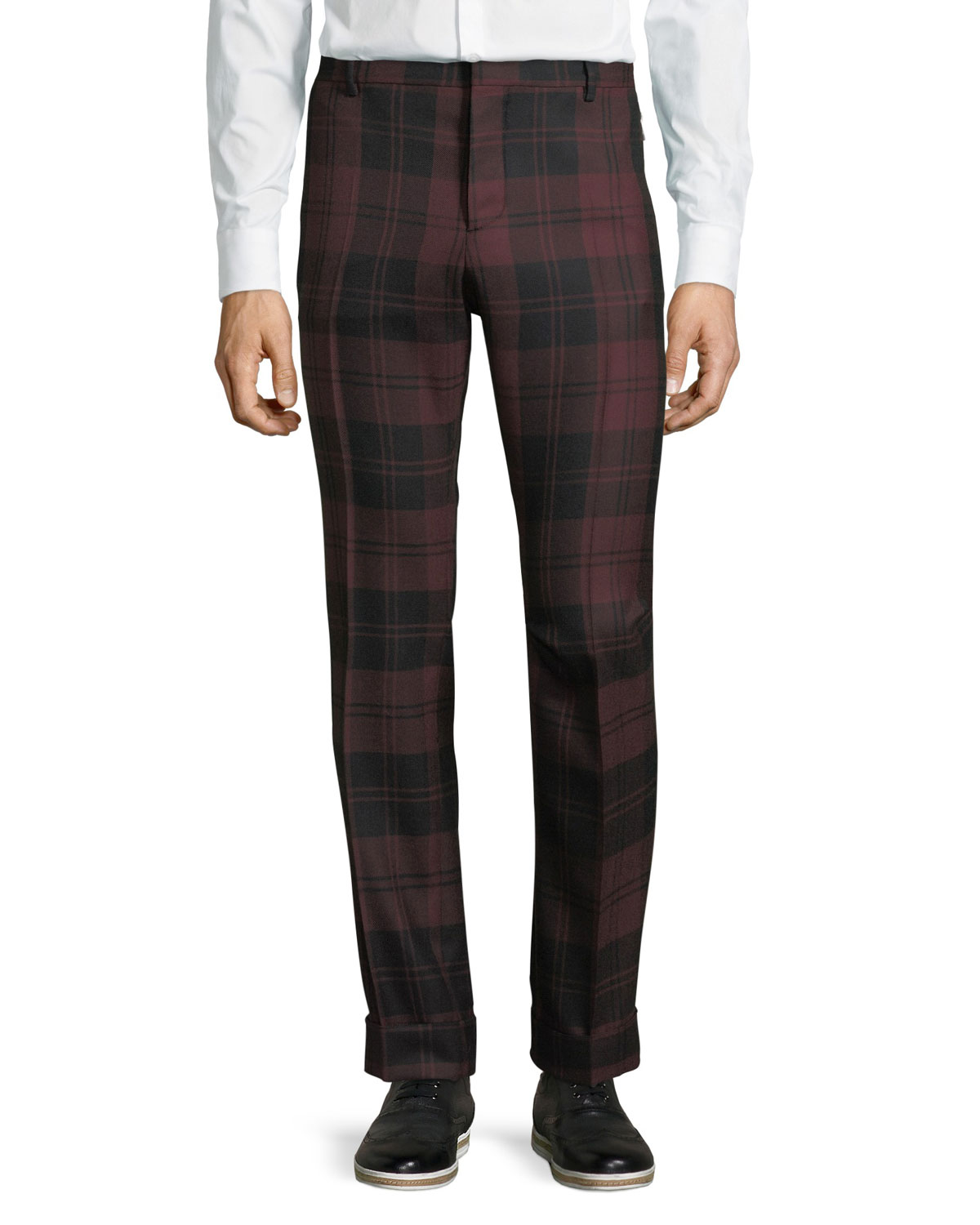 Plaid Wool Trousers