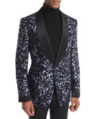 Shelton Base Leopard-Print Silk Tuxedo Jacket