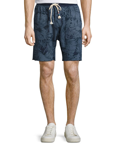 Tropical Palm-Print Sweat Shorts, Indigo