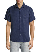 Inverse Palm-Print Short-Sleeve Shirt, Indigo