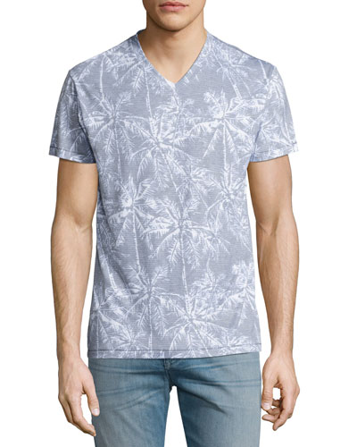 Mayan Jungle V-Neck T-Shirt, Blue