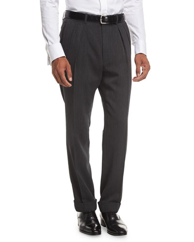 Shelton Base Melange Twill Pleated Trousers, Black/Grey