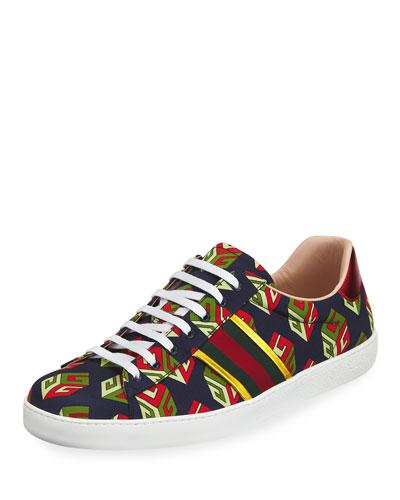 New Ace GG Wallpaper Sneaker, Blue