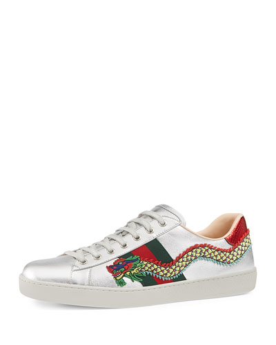 Men's New Ace Embroidered Leather Low-Top Sneakers, Silver