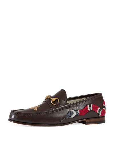Roos Leather Moccasin Loafer with Snake, Brown