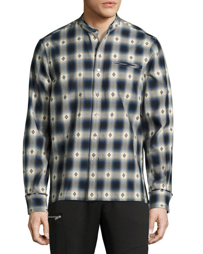 Crosby Raw-Edge Plaid Diamond Cotton Shirt, Blue