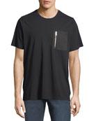 Zip-Pock Cotton T-Shirt, Black