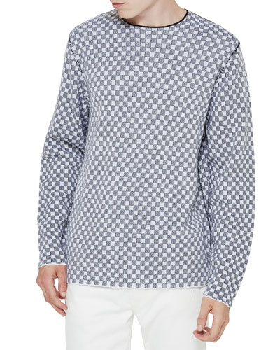 Checker Merino Wool Sweater, Black/White