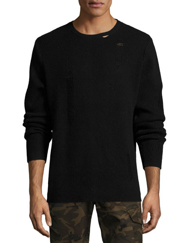 Distressed Ribbed Wool Sweater, Black