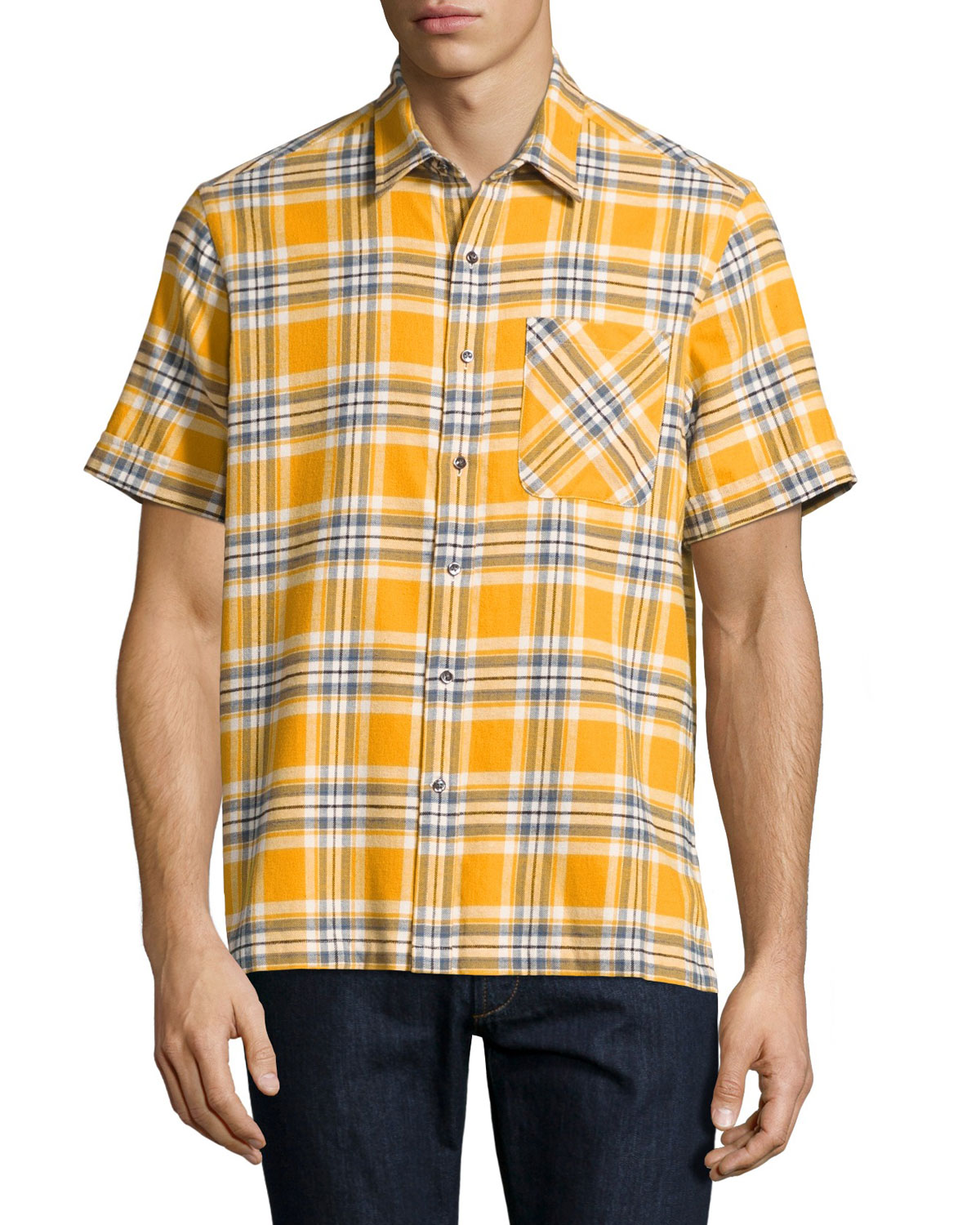 Plaid Short-Sleeve Camp Shirt, Mustard