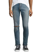 OS-1 Slim Distressed Jeans, Light-Wash Indigo