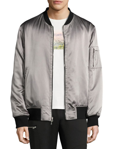 OS-1 Reversible Satin Bomber Jacket, Black/Gray