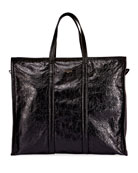 Bazar Leather Large Tote Bag, Noir