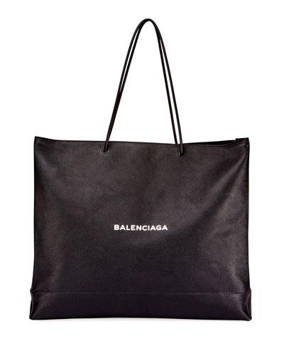Men's Large East-West Tote Bag, Black/White