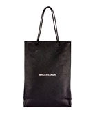 Men's Medium North-South Leather Tote Bag, Black/White