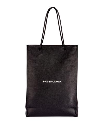 Men's Medium North-South Leather Tote Bag, Black/White