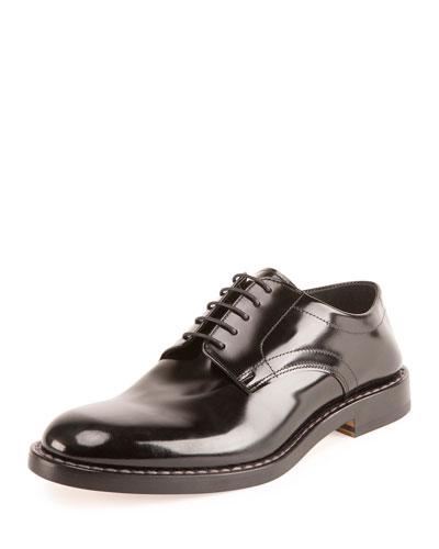Crush-Heel Leather Dress Shoe, Black