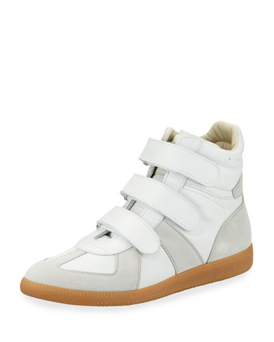 Men's Triple-Strap Leather & Suede High-Top Sneakers, White