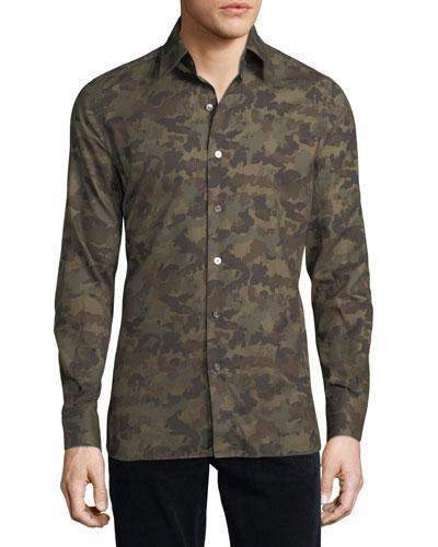 Camouflage-Print Sport Shirt
